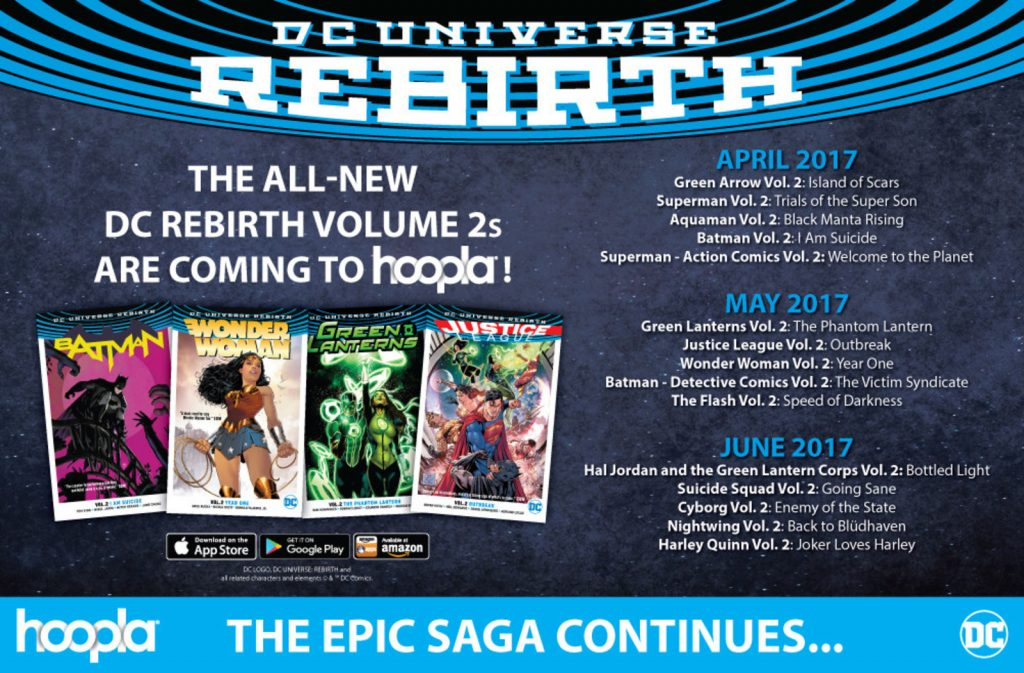 DC Rebirth Vol. 2 arrives today, bringing new titles like Green Arrow Vol. 2 and Superman Vol. 2 to the leading digital service for public libraries (PRNewsfoto/hoopla digital)